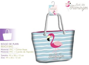 BOLSO DE PLAYA FLAMINGO 44X36X12
